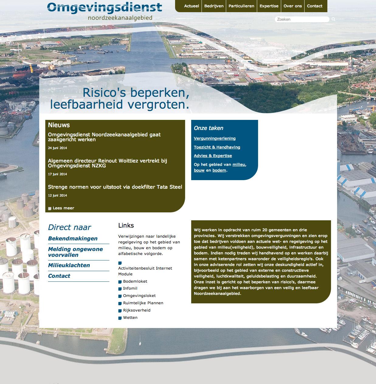 Omgevingsdienst Noordzeekanaalgebied webdesign homepage